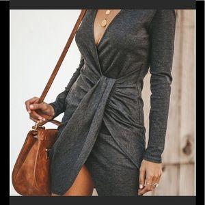 VICI Dolls Twist Wrap Dress Heather Gray